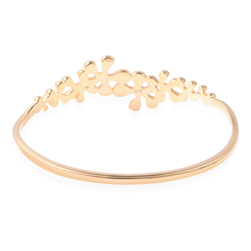 LucyQ Splash Collection - Yellow Gold Overlay Sterling Silver Bangle (Size 6.5)