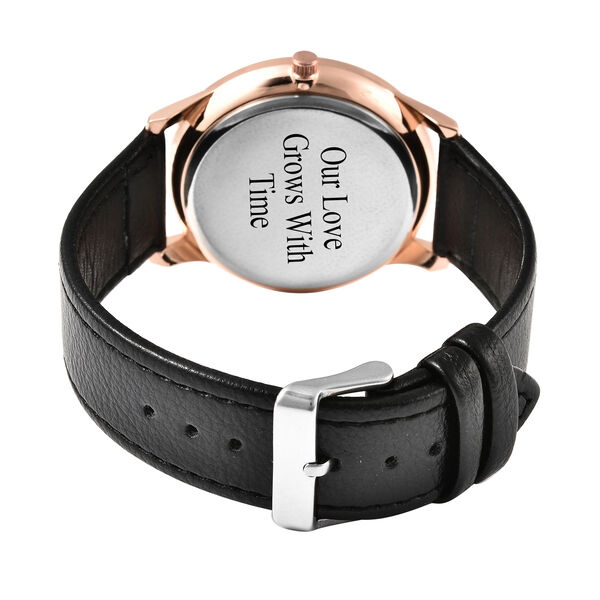 Personalised Engravable STRADA Japanese Movement Watch with Rose Tone and Black Strap