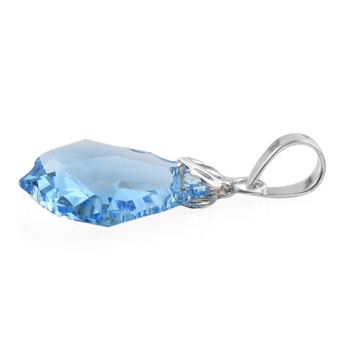 J Francis Crystal from Swarovski - Aquamarine Colour Crystal Pendant in Sterling Silver