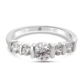 J Francis Platinum Overlay Sterling Silver Ring Made with SWAROVSKI ZIRCONIA 1.47 Ct