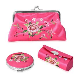 Set of 3 Floral Embroidered Pink Colour Cosmetic Organizer (Coin Purse, Compact Mirror and Lipstick Case)