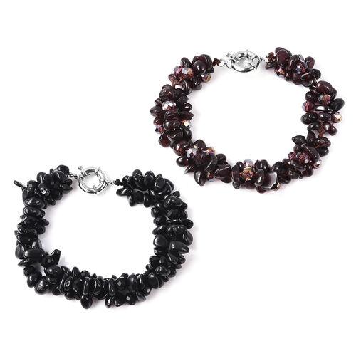Set of 2 - Boi Ploi Black Spinel, Mozambique Garnet, Black and Magic Colour Beads Bracelet (Size 7.5) with Senorita Clasp in Silver Tone 342.952 Ct.