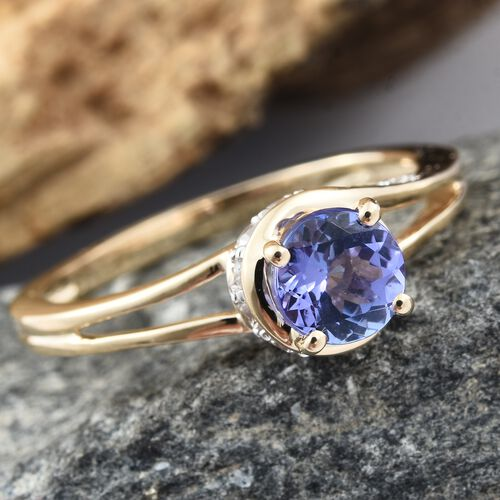 9K Yellow Gold AA Tanzanite (Rnd), Natural Cambodian Zircon Ring 1.000 Ct.
