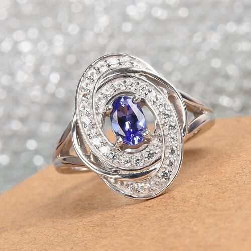 AAA Tanzanite and Natural Cambodian Zircon Ring in Platinum Overlay Sterling Silver 1.00 Ct.