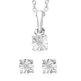 2 Piece Set for Kids Diamond Pendant with 20 Inch Chain and Earrings in Sterling Silver