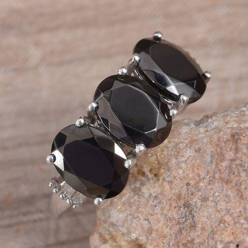 Elite Shungite (Ovl), Diamond Ring in Platinum Overlay Sterling Silver 2.25 Ct.