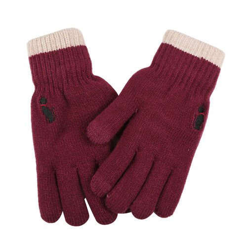 Ladies Warm Gloves with Embroidered Cat (One Size) - Red
