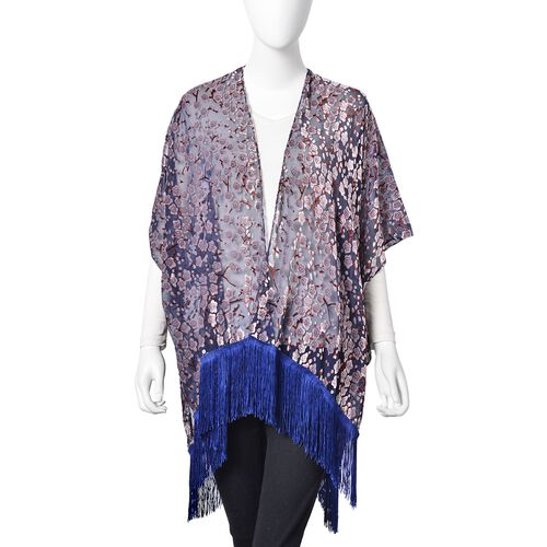 Designer Inspired- Navy, White and Multi Colour Floral Pattern Kimono with Tassels (Size 90X80 Cm)