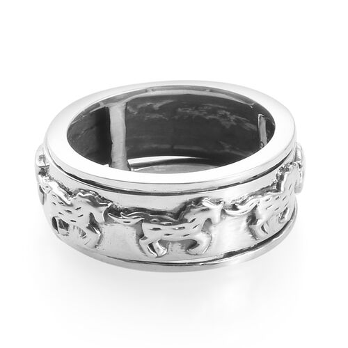 Sterling Silver Horse Spinner Ring, Silver wt 5.00 Gms