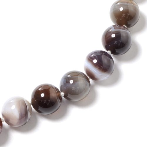 Close Out Deal- Rare Size Botswana Agate (Rnd 13-15 mm) Beads Necklace (Size 20) in Rhodium Overlay Sterling Silver 639.000 Ct