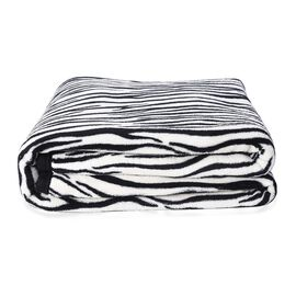 Super Soft Microfibre Plush Blanket Zebra Print (Size 150x200 Cm) - Black and White Colour