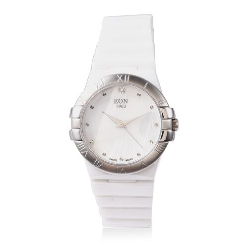 EON 1962 Swiss Movement Water Resistance Diamond Studded Watch with White Mother of Pearl Dial, Blue