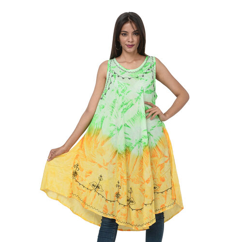 Summer Special- Embroided Tie-Dye Round Neck Umbrella Dress (One Size; L-121cm x W-111cm) - Green an