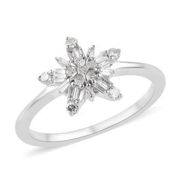 9K White Gold SGL Certified Diamond (Rnd and Bgt) (I2-I3/G-H) Snowflake Design Ring 0.25 Ct.