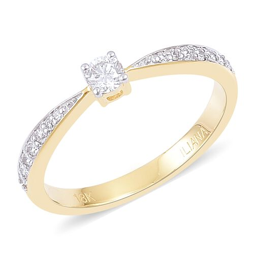 ILIANA 0.25 Carat Diamond IGI Certified SI GH Engagement Ring in 18K Gold