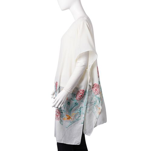 New Season-Cream, Red, Yellow and Green Embroidered Flower and Bird Pattern Poncho (Size 90x90 Cm)