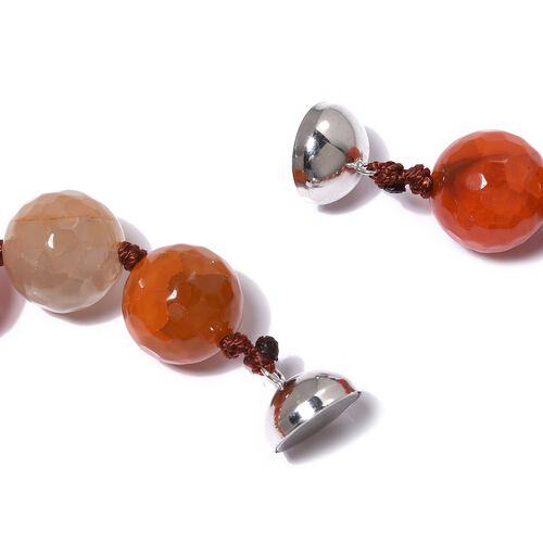 Super Auction- Orange Agate (Rnd 14-16 mm) Beads Necklace (Size 18) with Magnetic Clasp in Rhodium Overlay Sterling Silver 639.500 Ct.