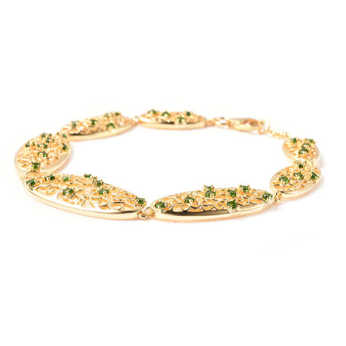 LucyQ Victorian Era Collection - AA Russian Diopside Bracelet (Size 8) in Yellow Gold Overlay Sterling Silver