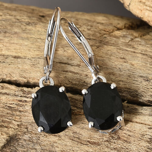 Black Tourmaline (Ovl) Lever Back Earrings in Platinum Overlay Sterling Silver 5.000 Ct.