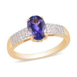 Tanzanite and Natural Cambodian Zircon Ring in 14K Gold Overlay Sterling Silver 1.50 Ct.
