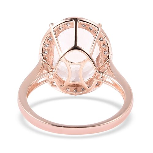 Close Out Deal- 14K Rose Gold Rare Size AAA Maroppino Morganite (Ovl 16x12mm) and Diamond (I1-I2 G-H) Ring 8.82 Ct.