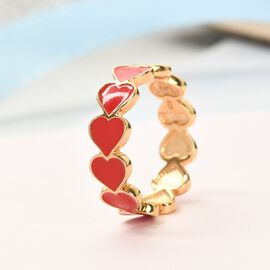 14K Gold Overlay Sterling Silver Enamelled Hearts Band Ring