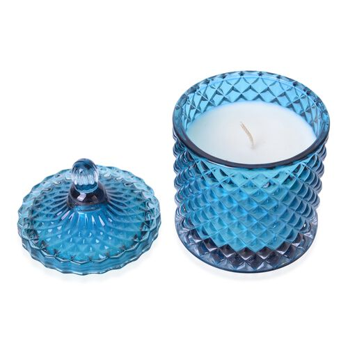 Ocean Fragrance Aromatic Candle in Blue Colour Glass Carved Container (Size 15X8.5 Cm)