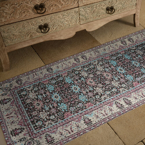 Premium Jacquard Woven Cotton Chenille Area Rug in Beige, Blue and Multi Colour (Size 80x240 cm)