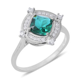 ELANZA Simulated Emerald (Cush), Simulated Diamond Ring in Rhodium Overlay Sterling Silver