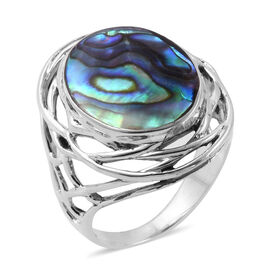 Royal Bali Collection - Abalone Shell (Ovl) Ring in Sterling Silver, Silver wt 5.31 Gms