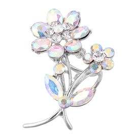 TJC Launch-Simulated Aurora Borealis and White Austrain Crystal Scarf Ring in Silver Plated