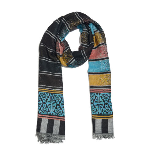 Designer Inspired-Black, Turquoise and Multi Colour Stripes Pattern Scarf with Fringes (Size 190X70 Cm)
