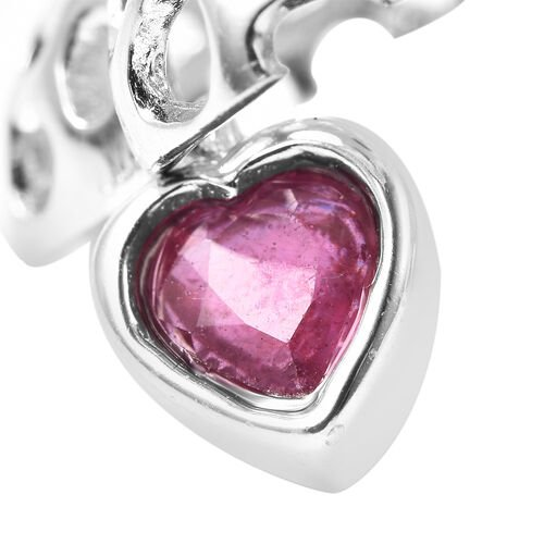 RACHEL GALLEY Angel Heart Collection - African Ruby Lattice Heart Locket Pendant with Chain (Size 20 with Extender) in Rhodium Overlay Sterling Silver