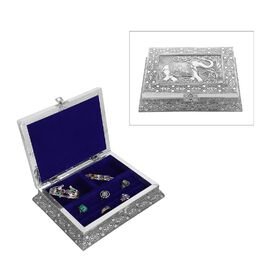 3D Embossed Collection Handcrafted Elephant Oxidised Jewellery Box (Size 23x17.7 Cm) with Blue Velve