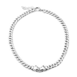 Rhodium Overlay Sterling Silver Leopard Head Curb Necklace (Size 20 and 2 inch Extender), Silver wt 49.00 Gms.