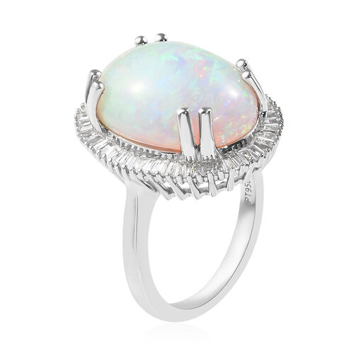 RHAPSODY 950 Platinum AAAA Ethiopian Welo Opal (Ovl), Diamond (VS/E-F) Ring 9.350 Ct., Platinum Wt. 9.80 Gms