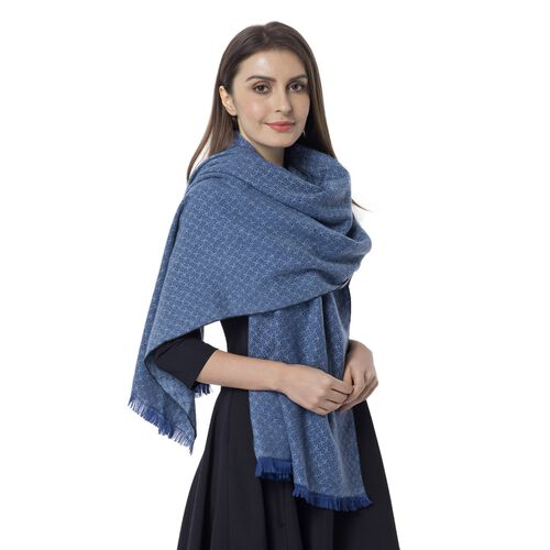 Blue Colour Chequer Pattern Scarf (Size 180x65 Cm)