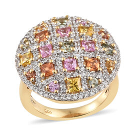 Rainbow Sapphire (Sqr) Cluster Ring in 14K Gold Overlay Sterling Silver Ring 3.000 Ct, Silver wt 6.5