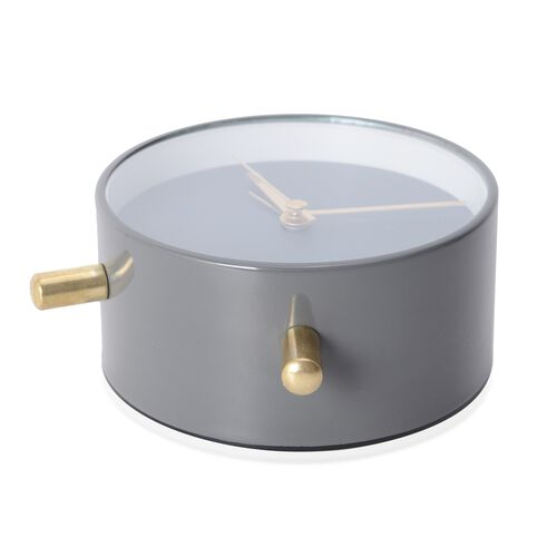 Decorative Round Shape Alarm Clock White Colour - Grey