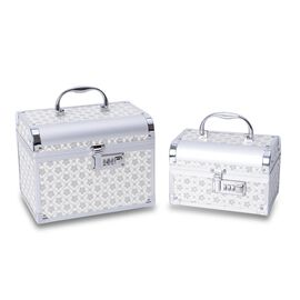 2 Piece Set - Floral Pattern 2-Layer Jewellery Box with Removable Tray, Inside Mirror and Coded Lock