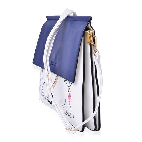 Designer Inspired - Flowers and Leaves Embroidered Navy and White Colour Shoulder Bag with Adjustable and Removable Strap (Size 31.5X28X25X1.5 Cm)