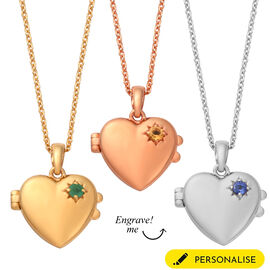 Personalised Engraved Initial and Birthstone Heart Locket