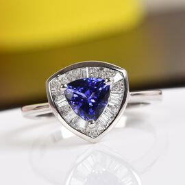 RHAPSODY 950 Platinum AAAA Tanzanite and Diamond (VS/E-F) Halo  Ring 1.00 Ct.