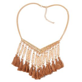 Champagne Colour Seed Beads Tassel Necklace (Size 19 with 2 inch Extender) in Yellow Gold Tone
