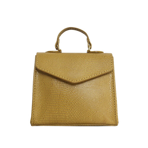 Assots London KYLIE Lizard Textured Genuine Leather Grab Bag (Size 13x2.5x10 Cm) - Ochre