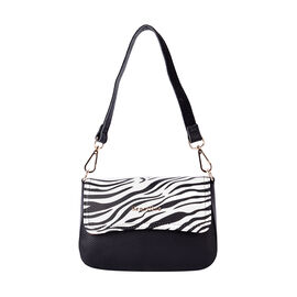 SENCILLEZ 100% Genuine Leather Crossbody Bag with Detachable Strap and Zebra Pattern Flap (Size 20x1
