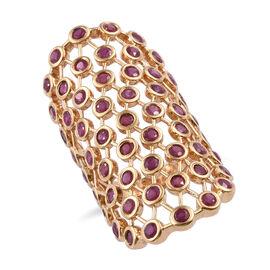 African Ruby (Rnd) Ring in 14K Gold Overlay Sterling Silver 6.000 Ct, Silver wt 10.75 Gms