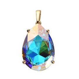 J Francis AB Crystal from Swarovski Solitaire Drop Pendant in 14K Gold Plated Silver