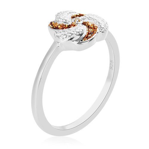 Yellow Diamond Swirl Design Ring in Sterling Silver