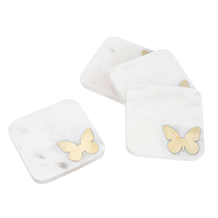NAKKASHI - Set of 4 - Square Marble Coasters with Butterfly Brass Inlay (Size 10x10cm)